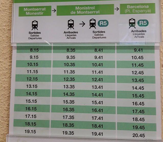Расписание подъема/спуска кремальеры на Монтсеррат