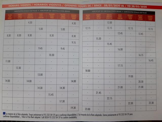 Расписание автобусов из аэропорта Жироны в Барселону